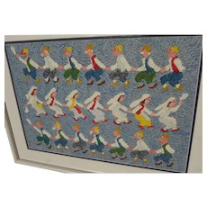 JOVAN OBICAN (1918-1986) original acrylic painting of folk dancers by the noted Yugoslavian artist