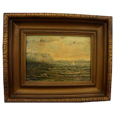 Small vintage Nova Scotia Canada signed seascape painting