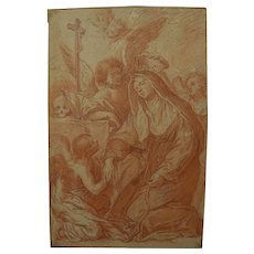 Italian circa 1700 Old Master red chalk religious drawing