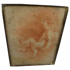 Old Master red chalk drawing of putto circa 1700