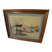 NESTOR FRUGE (1916-2011) New Orleans Louisiana art original watercolor painting of bayou shrimp boats