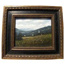 ARTHUR JONES (1928-) miniature Vermont landscape painting by noted artist