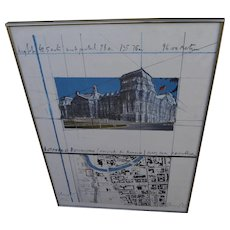 "CHRISTO (1935-) hand signed offset poster of 1992 ""Wrapped Reichstag"", Berlin"