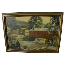 Vintage painting of covered bridge and village likely New England signed Ed Mifflin