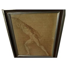 Old Master circa 18th century French or Italian academic chalk drawing of male figure