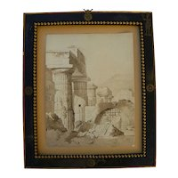 Italian Old Master style drawing of temple ruins circa mid 19th century