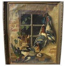 MICHELANGELO MEUCCI (1840-1909) Italian 19th century art nature morte hanging birds trompe l'oeil still life painting needs restoration
