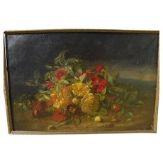 American nineteenth century still life flowers in a landscape