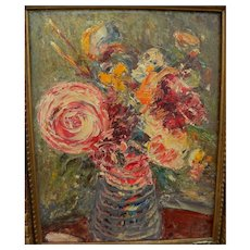 OSCAR KLEIN impressionist signed 1959 painting of flowers in a vase