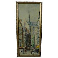 Paris impressionist 1960's Retro Mid Century tourist painting of street scene