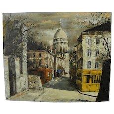Paris Montmartre Mid Century tourist painting featuring Sacre Coeur church
