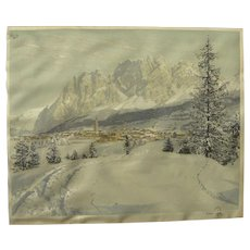HANS FIGURA (1898-1978) pencil signed print on silk by the noted Austrian artist
