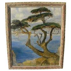 BESSIE MONA LASKY (1888-1972) California plein air coastal landscape painting of classic cypress tree