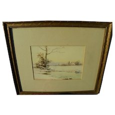 EDWIN LAMASURE (1867-1916) American watercolor landscape painting by early Washington D.C. artist