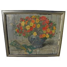 VICENTE SANTAOLARIA (1886-1967) large impressionist floral still life by noted Spanish painter