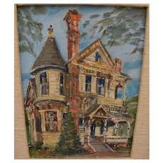 WILFRID TAYLOR MILLS (1912-1988) California art small painting of classic Victorian house