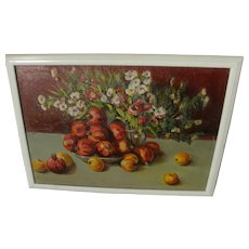 Impressionist flowers and fruits still life painting possibly Russian