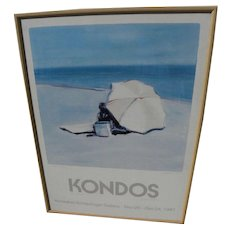 GREGORY KONDOS (1923-) California contemporary art pencil signed poster of beach scene for 1987 exhibition