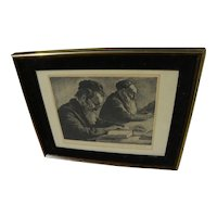 JOSEPH MARGULIES (1896-1984) etching of Jewish men at study by noted American artist