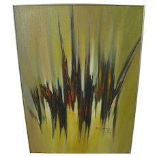 HSING-SHENG YANG (1938-2013) dramatic mid century abstract painting by Taiwan master artist