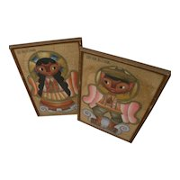 JOSE MARIA DE SERVIN (1917-1983) **pair** paintings of children by noted Mexican artist