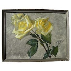 Fine old European watercolor painting of yellow roses signed