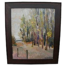 Impressionist contemporary signed landscape painting of trees