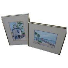 PAIR California signed watercolor paintings of familiar Manhattan Beach and Palos Verdes scenes