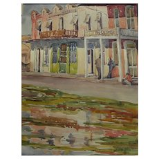 ESTELLA HOISHOLT (1889-1979) California 1930's watercolor painting Oakdale in Central Valley