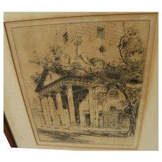 ALFRED HEBER HUTTY (1877-1954) southern art scarce pencil signed Charleston South Carolina etching