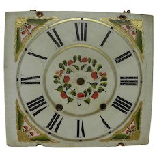 Antique original painted grandfather clock face great folk art