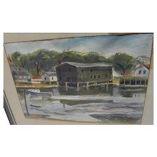 CONSTANTINE 'GUS' KERMES (1923-2009) Pennsylvania artist watercolor painting 1946 of waterfront scene