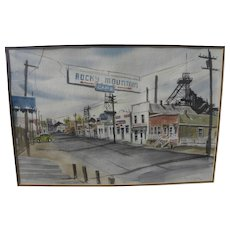 LEROY COTTOM (1931-2010) Montana art watercolor painting by noted artist citizen of Butte