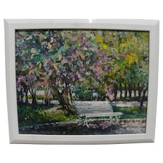 PATRICIA SHILLING-STEWART Caifornia contemporary impressionist painting of park bench
