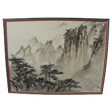 Chinese watercolor landscape in classical style