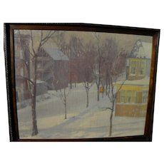 Vintage impressionist winter street scene with houses signed A. JANSEN
