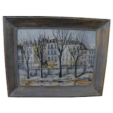 LAURENCE GUETTHOFF mid 20th century gouache and ink drawing of central Paris