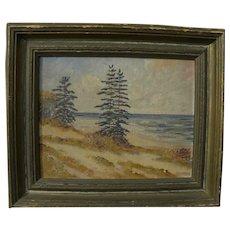 GLENN BASTIAN (1890-1966) Indiana art small painting Lake Michigan sand dunes
