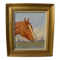 HENRY STULL (1851-1913) thoroughbred horse portrait painting by the noted American equine artist