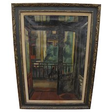 Circa 1920's old unsigned painting with modernist qualities