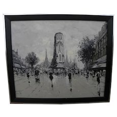 Paris mid century Retro signed painting en grisaille