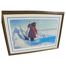 "FRED MACHETANZ (1908-2002) Alaskan art pencil signed limited edition color lithograph print ""Winter Harvest"" 1981"
