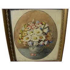 German 1920 small watercolor painting of wildflowers in a vase