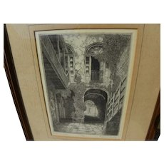 """EUGENE LOVING (1908-1971) pencil signed etching """"Bourbon Street Patio"""" by noted New Orleans artist"""