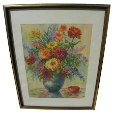 Impressionist watercolor signed still life painting flowers in vase