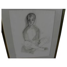 ROGER KUNTZ (1926-1975) California art original mixed media drawing of a figure