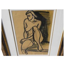 FRITZ BRANDTNER (1896-1969) Canadian art dramatic mixed media drawing seated female nude