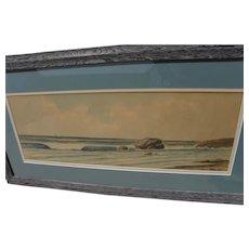 Circa 1900 coastal scene American watercolor painting signed LANGDON