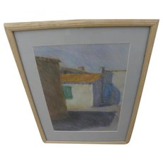 Pastel drawing of alley with red roofed home signed