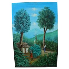 Haitian art colorful painting of tropical landscape with figures